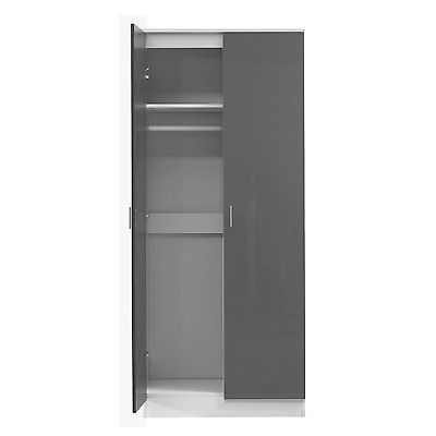2 Door Soft Close Plain Wardrobe in Gloss Grey / Matt White - REFLECT Bedroom