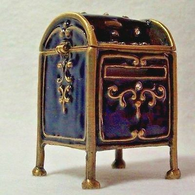Office Stamp Roll Holder Dispenser Mail Box Enameled Antiqued Pewter