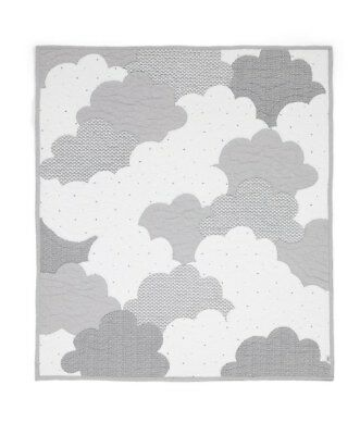 NEW Mamas and Papas Grey Cloud Hand Quilted Unisex Cot / Cot bed Coverlet
