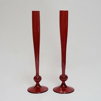 Pair Vintage Mid Century Tall Whitefriars Ruby Red Glass Bud Vases