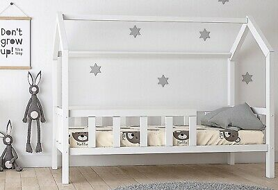 kinderbett kinderhaus kinder bett holz haus spielbett hausbett 90x200 weiss eur 239 00. Black Bedroom Furniture Sets. Home Design Ideas