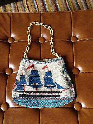 Early Victorian c1850 beaded purse handmade sailing ship floral chain handle