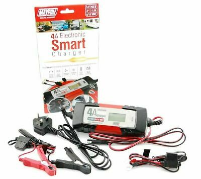 MAYPOLE 7423 Electronic Car Battery Charger Smart/Fast/Trickle/Pulse Modes 4 AMP