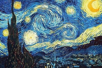 Vincent Van Gogh Starry Night Canvas Picture Poster Print Wall Art Unframed #A38