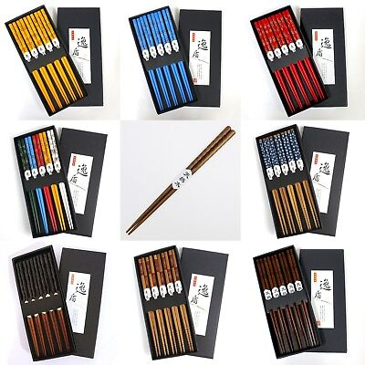 CLEARANCE 5 pairs of Asian Chopsticks Set Natural Wood / Bamboo - 4 designs