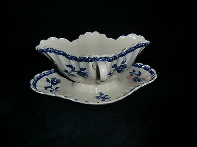COPELAND W T Blue and White Two Handled One Piece Sauce Boat