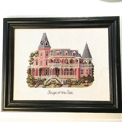 Finished Framed Cross Stitch Picture Angel By The Sea Lovely Mansion New Jersey