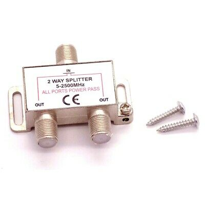 2 Way Coaxial Splitter 1 Male IN Coax to 2 Female OUT TV Aerial Virgin Sky Boxes