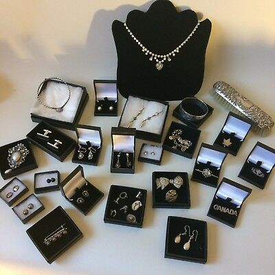 Large Job Lot Solid Silver Vintage & Antique Jewellery Hallmarked 30 items Boxed