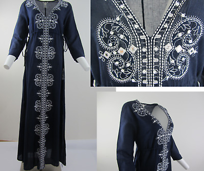 Ex Monsoon NAVY BLUE WHITE LONG KAFTAN EMBROIDERED maxi BEACH DRESS  (8 - 16 )