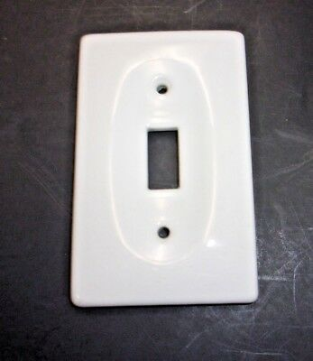 Vintage White Porcelain/ Ceramic Single Switch Plate/ Cover