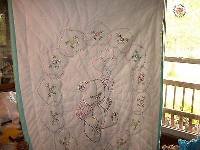 Hand embroidery  baby quilt Finished   Teddy Bear w/Hearts   38 by 58