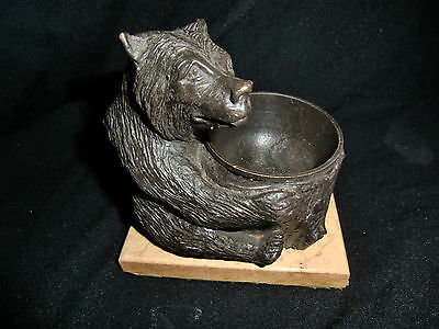 ANTIQUE 19th Century Continental Bronze Bear on Marble Base