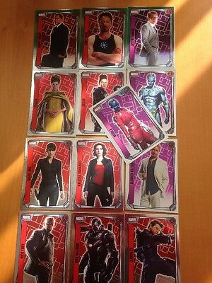 Topps Marvel Missions - 13 Different MIRROR FOIL Trading Cards (AVENGERS)