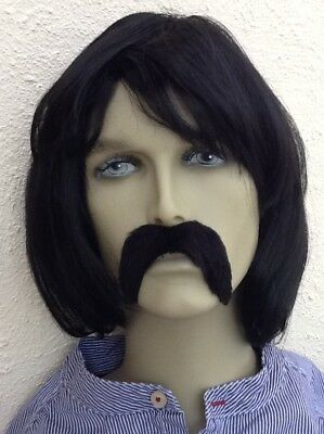 Men's Bob Style Black Fancy Dress Wig & Thick Droop Moustache, Self Adh.uk Disp