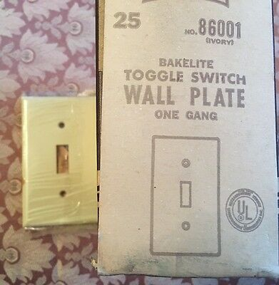 Vintage NEW OLD STOCK Bakelite Leviton Light Switch Plate Cover Toggle Ivory