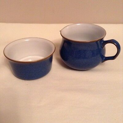 Denby Imperial Blue small Milk/Cream Jug (tea cup shape) and Ramekin