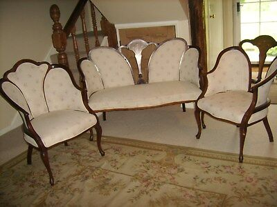 Edwardian Mahogany Inlaid 3Piece suite Settee & Two Chairs for Restoration