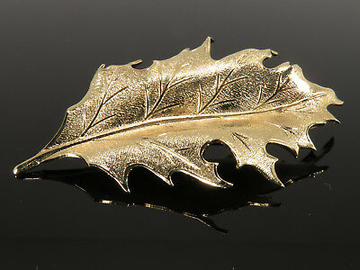 Vintage Gold Tone Leaf Pin Brooch Signed Scarf Lapel Sweater