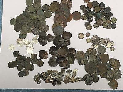 9 Coin Lot:ancient Roman+Judean+Byzantine+Medieval+Colonial+Pirate+Silver #!50