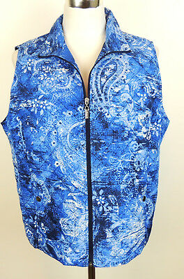 Alia Womens 14P Shades Of Blue Polyester Quilted Light Weight Outdoor Vest 14