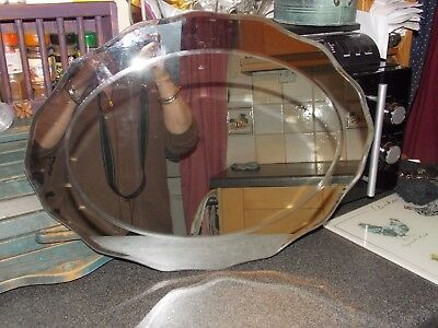Vintage Mirror oval frameless with oval detail in middle 50x37cm