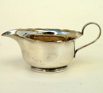 Silver Sauce Boat Bright Cut Edges With Scroll Handles