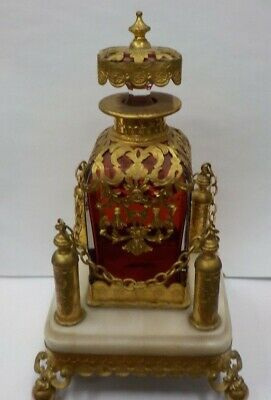 Antique French ruby glass ormolu mounted scent bottle 19th century+marble stand