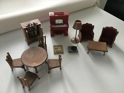 Sylvanian Families Lounge Dining Room Furniture Set Table Chairs Piano