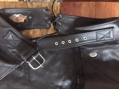 Harley Davidson Basic Skins Heavy Duty Leather Chaps. Size W/L