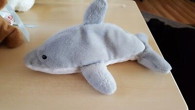 7.5 inch TY Beanie Baby - MWMTs FLASH the Dolphin 4th Gen hang tag
