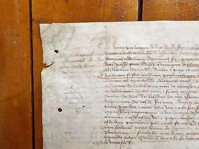 1447 Hand Written 15th century French Vellum Deed Document mystery contents