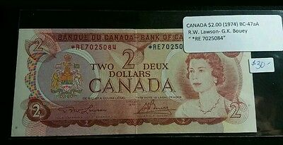 Bank of Canada 1974 $2 STAR REPLACEMENT NOTE  *RE 7025084  High Grade AU Lot#115