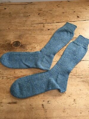 Vintage & New Hand Loomed Blue 100% Wool Socks Tight Knit Great For Hiking