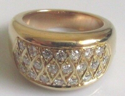 Secondhand 18ct Yellow Gold Multi Diamond Rectangular Cluster Ring Size I
