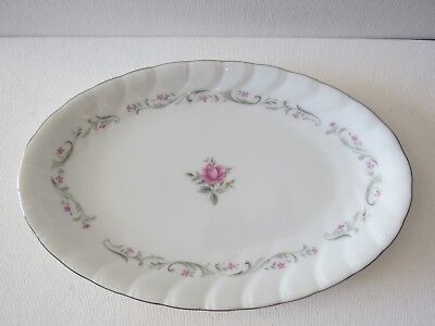 "ROYAL SWIRL Fine China of Japan~ OVAL Serving Plate~9 1/2""~Pink ROSE"