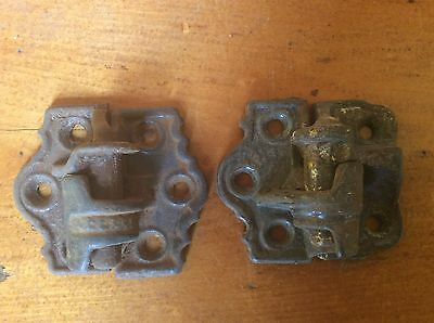 SET OF 2 ANTIQUE CAST IRON SHUTTER HINGES, BOTH PIECES, Different styles