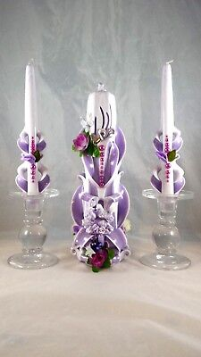 "Decorative 12"" hand made carved pillar candle with pair of 10"" matching tapers"