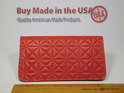 Bay State Exclusive Red Print Leather Checkbook Cover-New Design-Made In USA