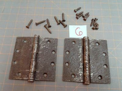 Pair Butt Hinges Acorn Warwick Style  Faux Hammered Iron Finish w Screws No. 6