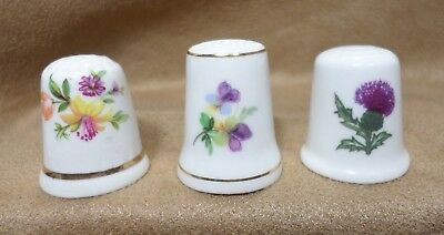 Lot 3 Bone China Thimbles St. Andrews Scotland, Peter Gosling, Royal Adderley