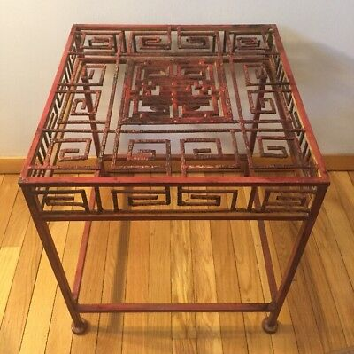 Vintage Pier One Metal End Table Red Wire Patio Porch Asian plant stand