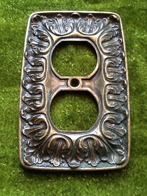 Vintage 60's Mid-Century SA Co. Ornate Shabby Antiqued Brass Outlet Plate Cover