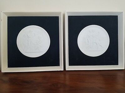 Vintage Pair Of Royal Copenhagen Framed Bisque Relief Wall Plaques