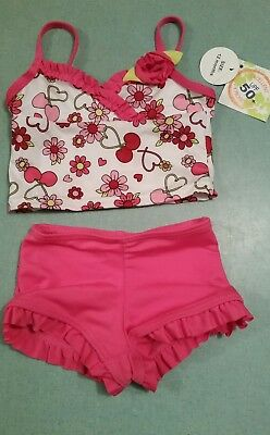 Tropic Sun 2 Piece Bathing suit with flowers and cherries Size 12 Months