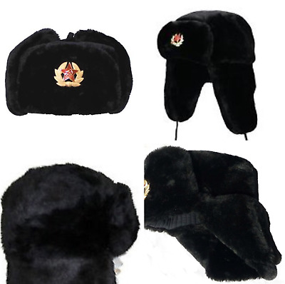 New Russian Trapper Military Hat With Soviet Badge Ushanka Cossack Hat Black