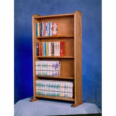 The Wood Shed Solid Oak 4 Row Media Cabinet / Bookcase