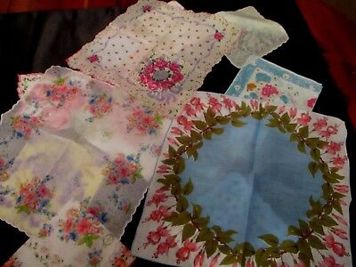 lot of 12 Vintage fine floral hankies, linens, and cottons some unused
