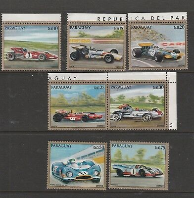 7 Paraguay Mint Unhinged Stamps Racing Cars see photo