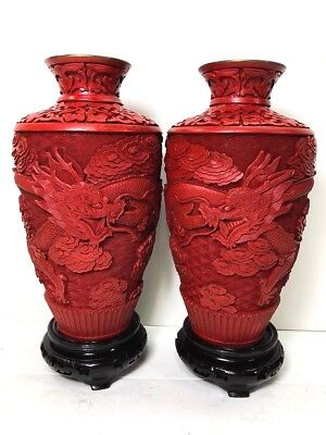 Very Old Cinnabar Lacquer Red Rare Dragon Vase/Blue Enamel inside/Handmade